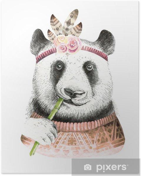 Plakat Ilustracja Akwarela Panda Czeski Słodkie Zwierzę Styl Boho Druk Z Nursary Art Kolekcja Piór