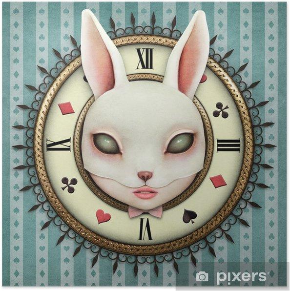 Plakat Ilustracja fantasy z kieszonkowego watch wonderland i maską głowy dziewczyny bunny - Hobby i rozrywka