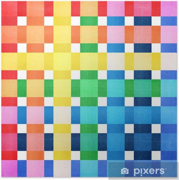 Plakat Ilustracja kolorowe tło w kratkę - Tła