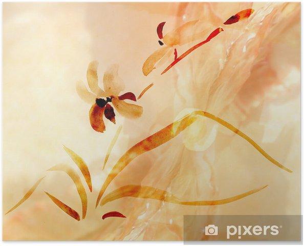 Plakat Ilustracja orchidee - Kwiaty