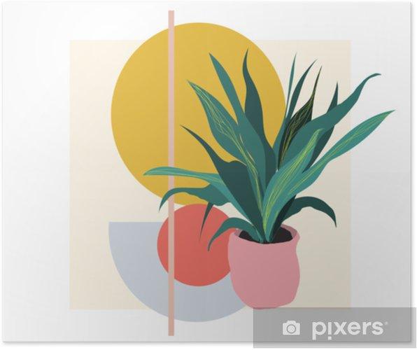 Plakat Ilustracja Roślin Wektor Roślina Doniczkowa Domu Botaniczny Druk Artystyczny Tło Geometryczne