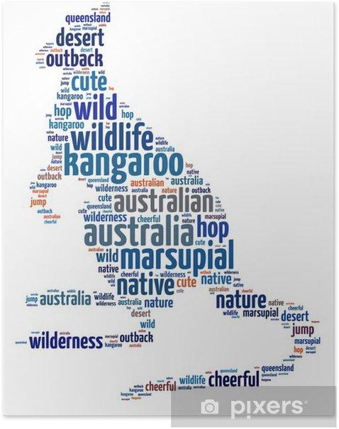 Plakat Ilustracja słów kangura na białym tle - Ssaki