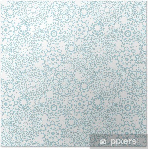 Plakat Ilustracja srebrny szary streszczenie mandale bezszwowe tło wzór - Kwiaty