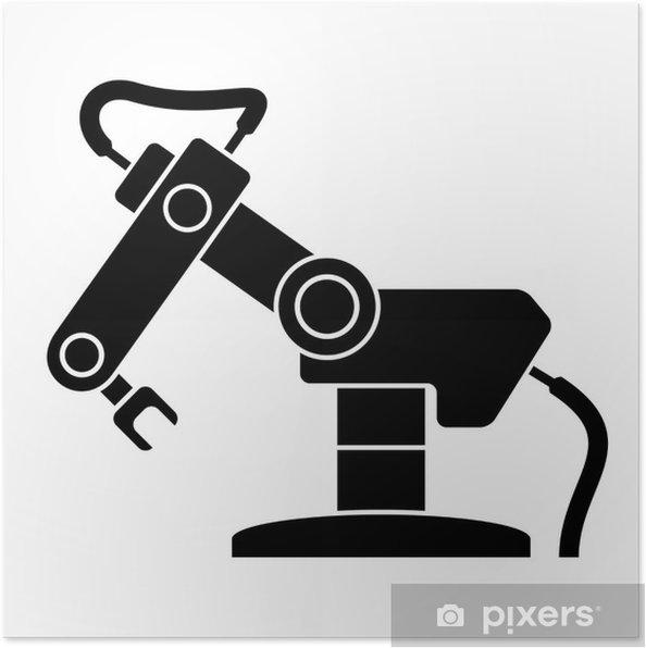Plakat Ilustracja symbol czarny ramię robota - Narzędzia przemysłowe