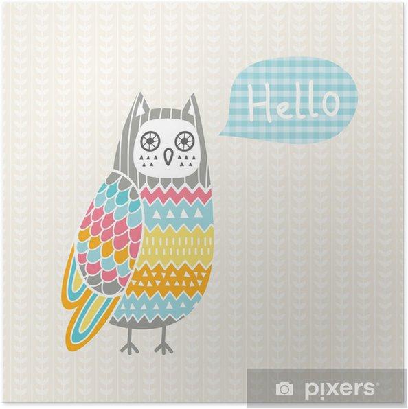 Plakat Ilustracja wektora kolorowe sowy - Tematy