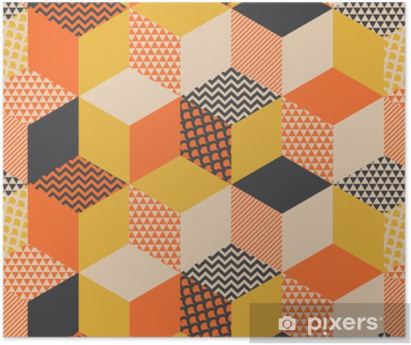 Plakat Ilustracja Wektorowa Geometryczny Wzór W Stylu Retro Lat 60 Tych Vintage 1970s Geometria Kształty Graficzny Streszczenie Powtarzalny Motyw Na