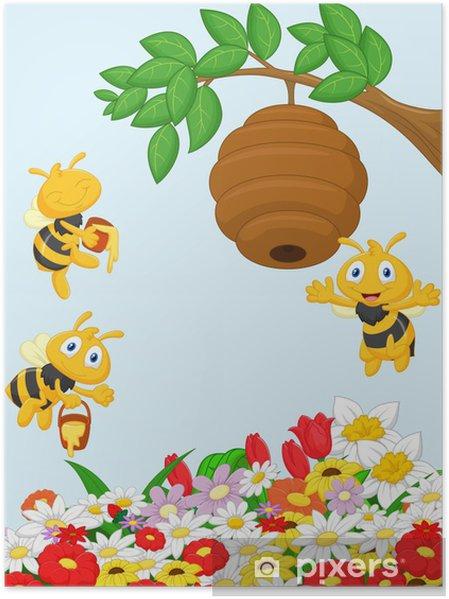 Plakat Ilustracja z gałęzi drzewa z ula i pszczoły - Inne Inne