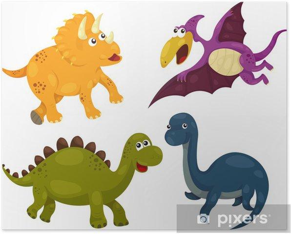 Plakat Ilustracja z kolekcji dinozaurów - dino - Fikcyjne zwierzęta