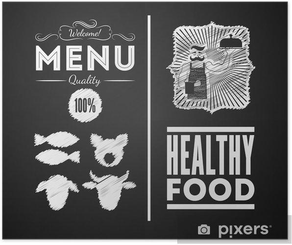 Plakat Ilustracja z rocznika elementu graficznego w menu na tablicy - Mięso