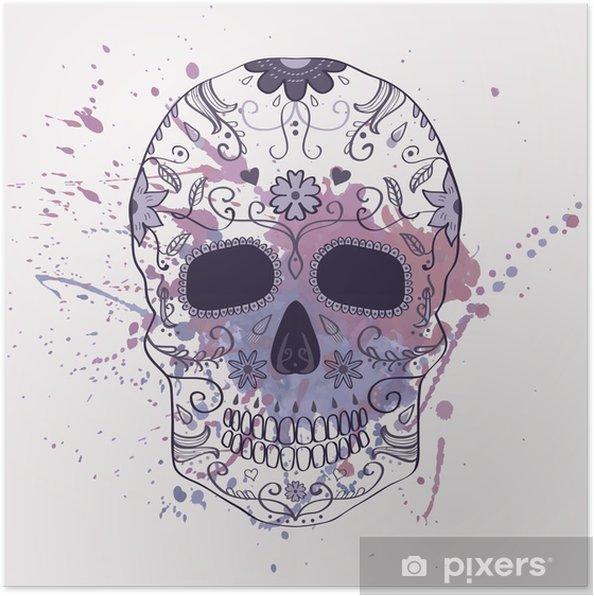 Plakat Ilustracji wektorowych Święto Zmarłych czaszki z ornamentem - Ameryka