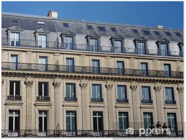 Plakát Immeuble de Pierre, balkon de fer, toit gris. Paříž - Evropská města