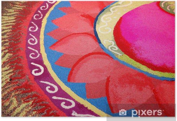Plakat Indian Kolam z motywem kwiatowym - Religie