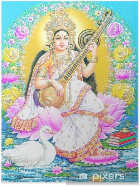 Plakat Indian maa saraswate bogini - Budynki użyteczności publicznej