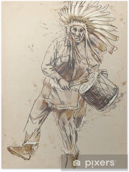 Plakat Indiansky Nacelnik Hraje Na Buben A Tanec Kresleni Do