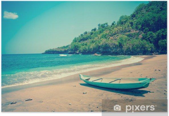Plakát Indonesia.Bali.Traditional národní loď na pobřeží oceánu - Asie