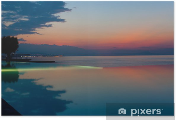 Plakat Infinity pool na plaży o zachodzie słońca - Wakacje
