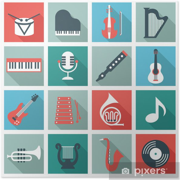 Plakat Instrumenty Muzyczne Płaska Pixers żyjemy By Zmieniać