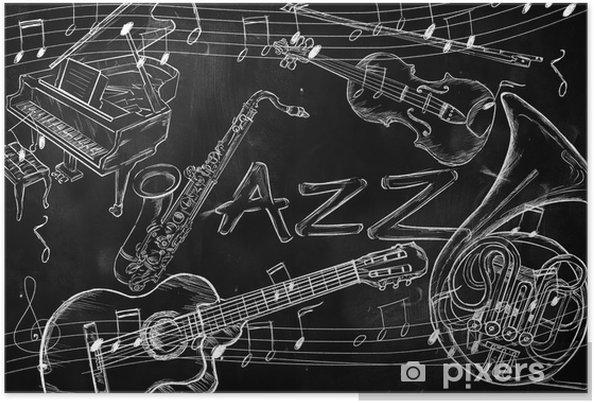 Plakat Instrumenty Muzyczne Tło Jazz Pixers żyjemy By Zmieniać
