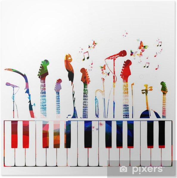Plakat Instrumenty Muzyczne Tło Kolorowe Pixers żyjemy By Zmieniać