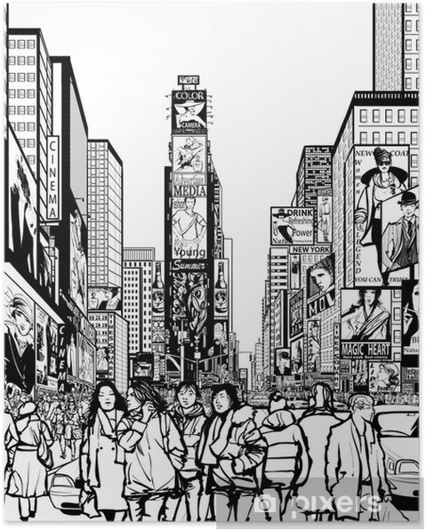 Plakat Interpretacja Times Square w Nowym Jorku - Infrastruktura
