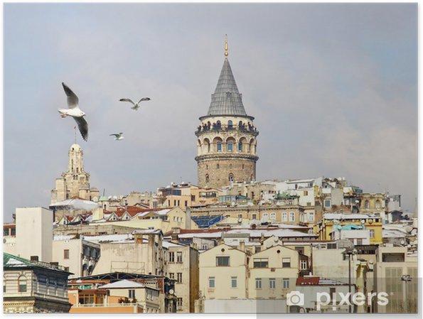 Plakat Istanbul Galata Tower w zimie - Bliski Wschód
