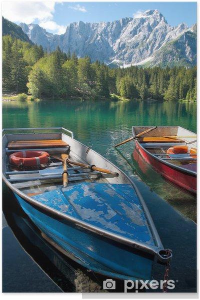 Plakat Italia - Udine - Lago di Fusine e monte Mangart z łodzi wiersz - Europa