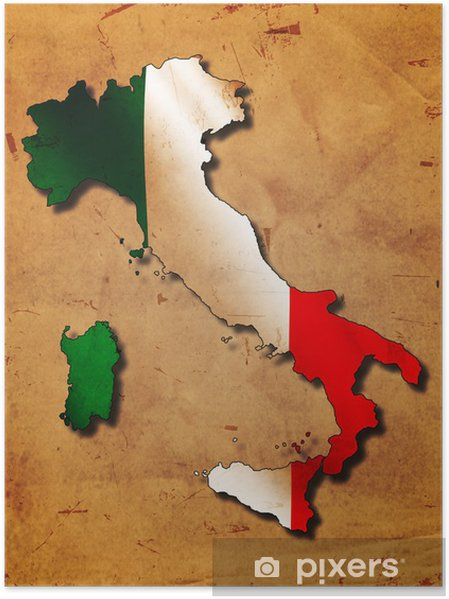 Plakat Italska Mapa S Vlajkou Pixers Zijeme Pro Zmenu