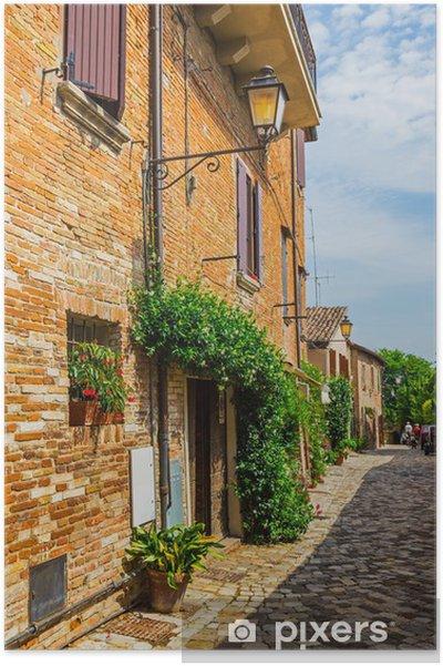 Plakát Italská ulice v malém provinčním městečku Tuscan - Soukromé budovy