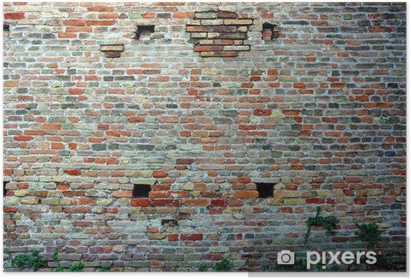 Plakát Italy Ravenna, středověké kamenné a cihlové zdi - Evropa