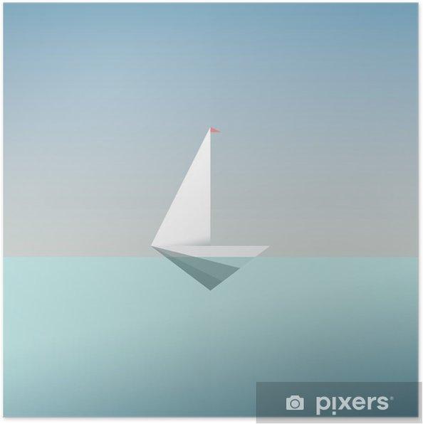Plakat Jacht symbol ikony w nowoczesnym stylu niskiej poli. Letnie wakacje lub podróż wakacje tła. Metafora działalności na rzecz wolności i sukcesu. - Zasoby graficzne