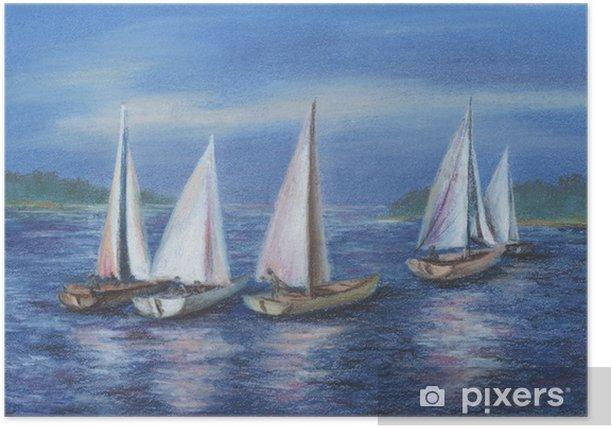 Plakát Jachty u moře Obsky - Voda