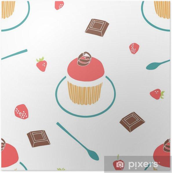 Plakát Jahodový muffin, čokoláda, jahoda, talíř a čajová lžička. bezproblémové vektorové pozadí. - Jídlo