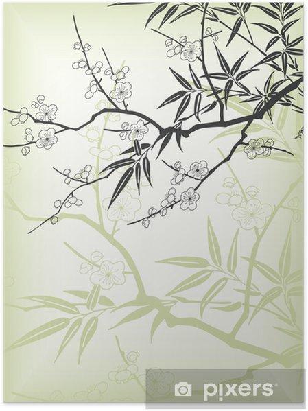 Plakát Japonská pobočka styl - Stromy