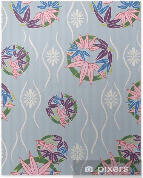 Plakat Japoński kwiatowy wzór bez szwu - Tła