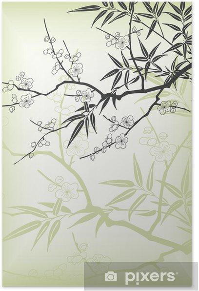 Plakat Japoński oddział styl - Drzewa