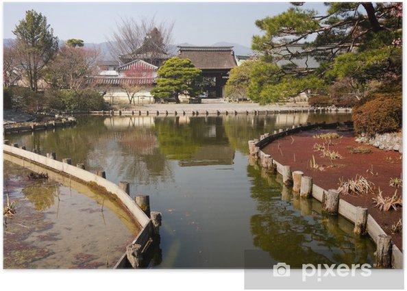 Plakat Japoński ogród z oczkiem wodnym - Azja