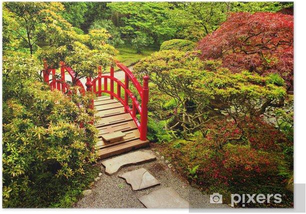 Plakat Japoński ogród z przepięknym czerwonym mostem - Tematy