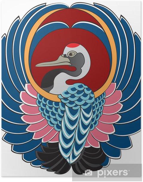 Plakat Japoński żuraw, rysunek do kimona - Azja