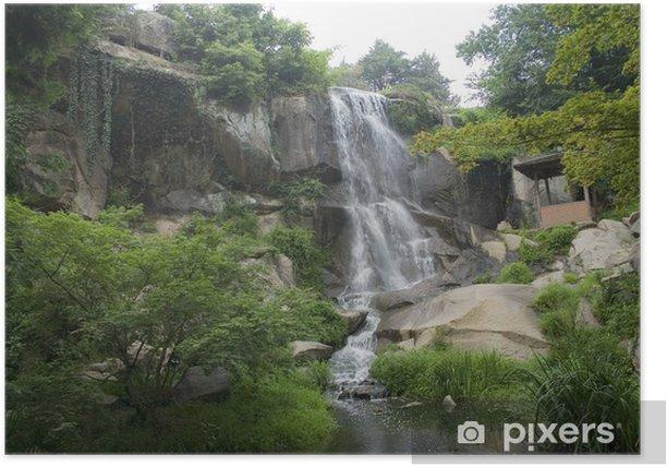 Plakat Japońskie ogrody Wodospad - Woda
