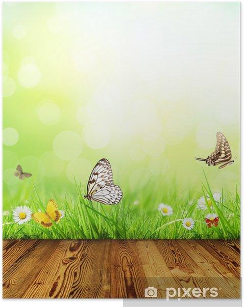 Plakát Jarní koncept s dřevěnými prkny - Témata