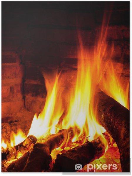 Plakat Jasny płomień w kominku - Tekstury