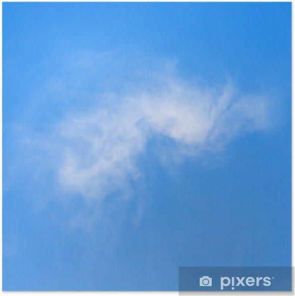 Plakat Jedna chmura światło marca błękitne niebo, - Niebo