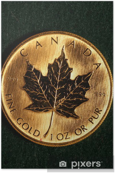 Plakát Jedna unce zlata Bullion mince - Kanada - Finance