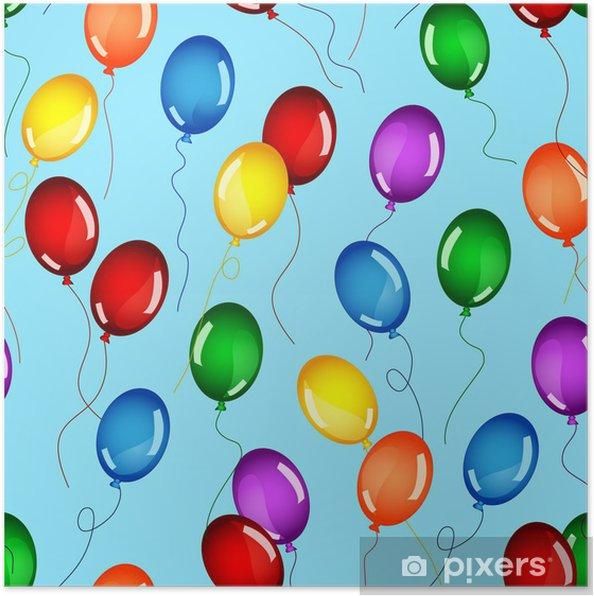 Plakat Jednolite balony urodziny - Świętowanie
