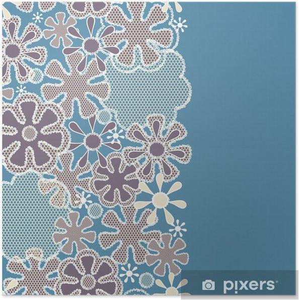 Plakat Jednolite streszczenie kwiatowy wzór koronki - Tła