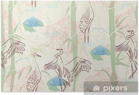 Plakat Jednolite tło z bambusa, bocian i lilii - Tła