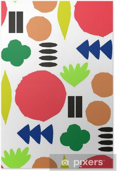 Plakat Jednolite wzór z graficznymi elementami geometrycznymi - Skandynawski