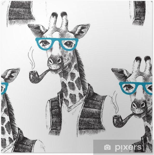 Plakat Jednolite wzór z przebrany żyrafa hipster - Zwierzęta