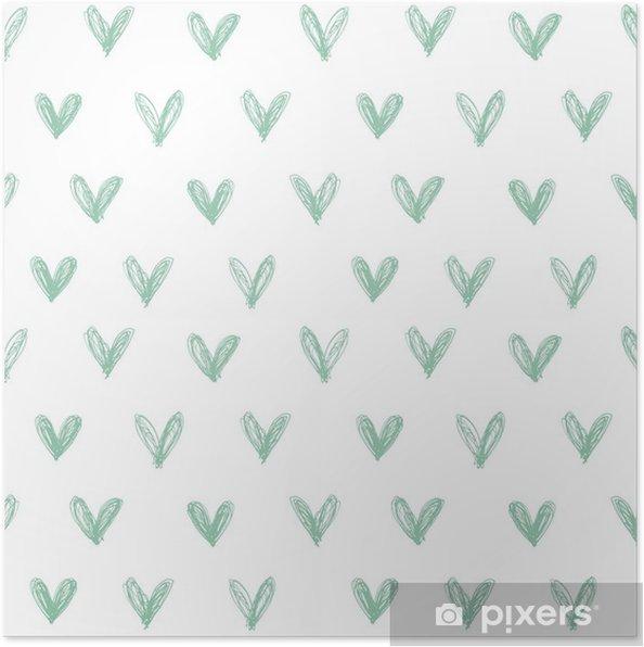 Plakat Jednolite wzór z ręcznie rysowane serca - Szczęście