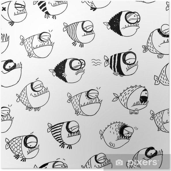 Plakat Jednolite wzór z zabawnymi ryb - Tła